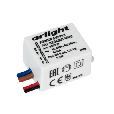 ARJ-KE04300-MINI (1.2W, 300mA) (ARL, IP20 Пластик) блок питания
